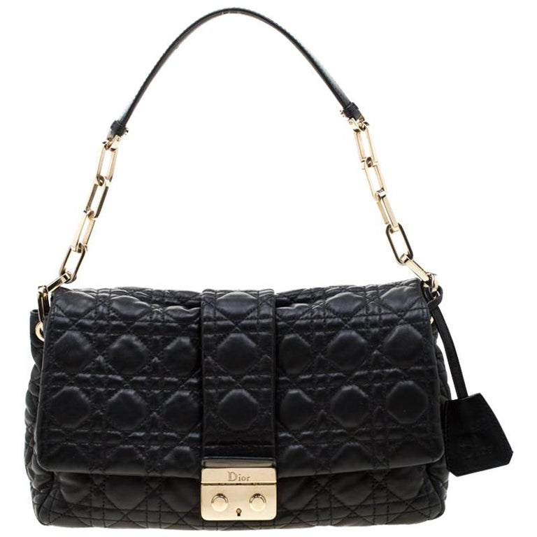 Dior Black Cannage Leather New Lock Flap Bag For Sale