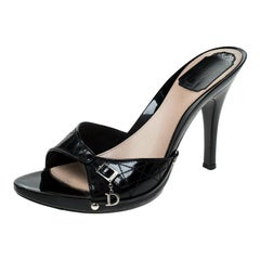 Dior Black Cannage Leather Open Toe Sandals Size 38