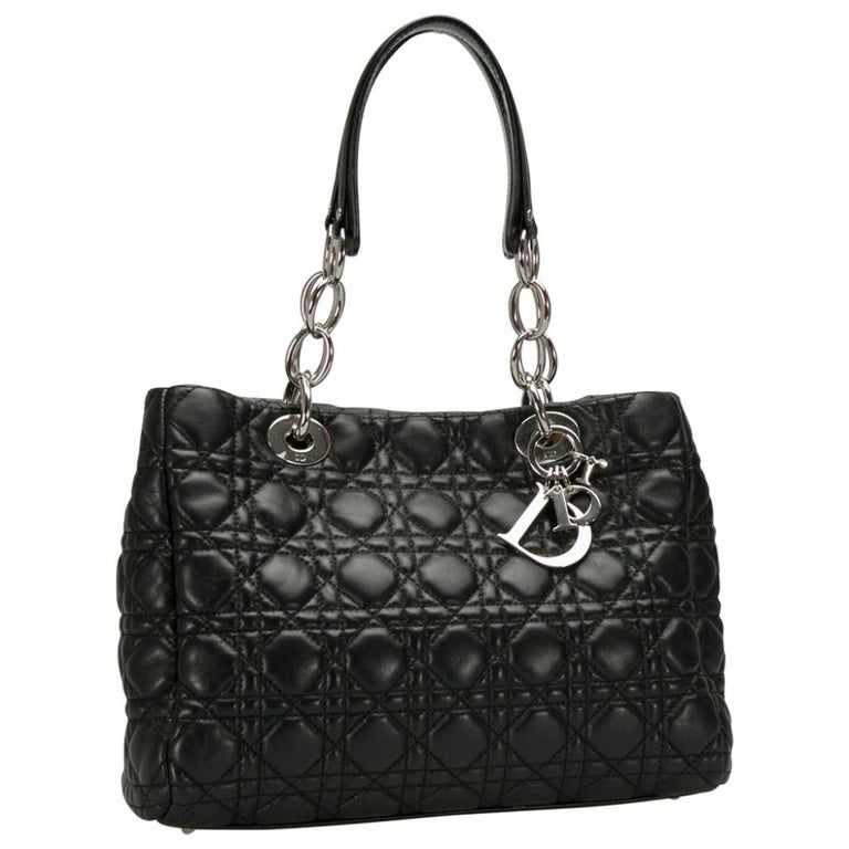 Dior Black Cannage Leather Small Soft Lady Dior Shopping Tote In Excellent Condition In Dubai, Al Qouz 2