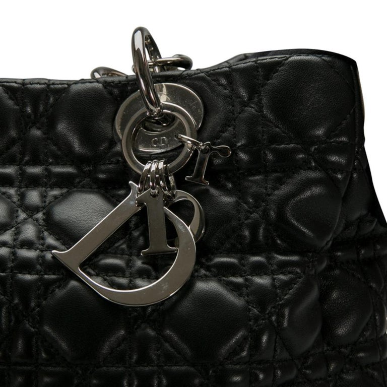 Dior Black Cannage Leather Small Soft Lady Dior Shopping Tote 2