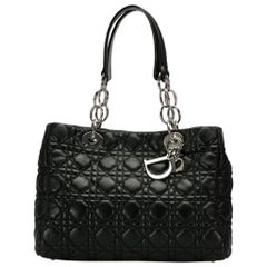 Dior Black Cannage Leather Small Soft Lady Dior Shopping Tote