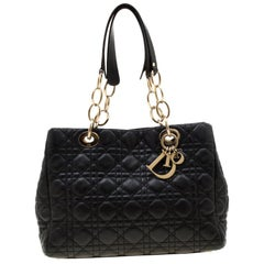 Dior Black Cannage Leather Small Soft Lady Dior Tote