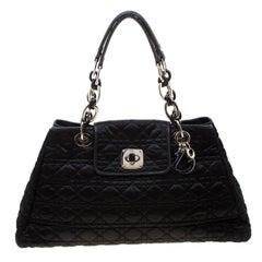 Dior Black Cannage Nylon Charming Lock Satchel