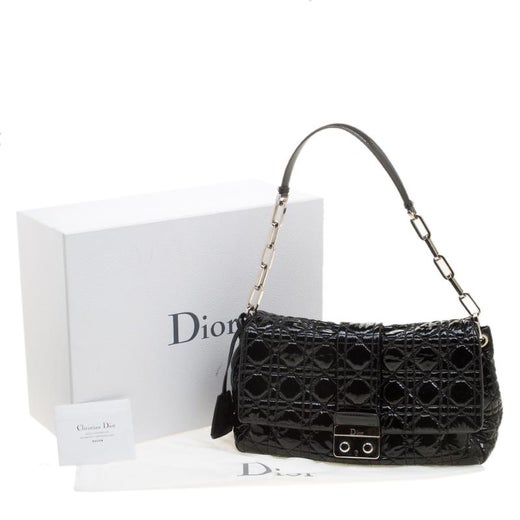 873d0a9886 Dior Black Cannage Patent Leather New Lock Flap Bag For Sale at 1stdibs