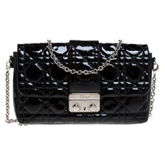 Dior Black Cannage Patent Leather Small Miss Dior Flap Bag