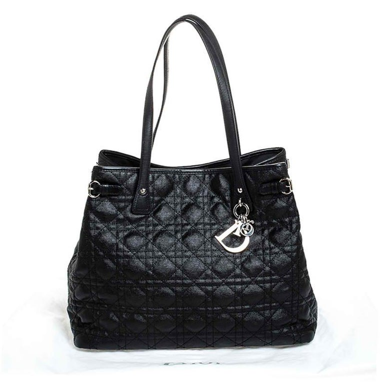 Dior Black Cannage Quilted Coated Canvas Medium Panarea Tote For Sale 9