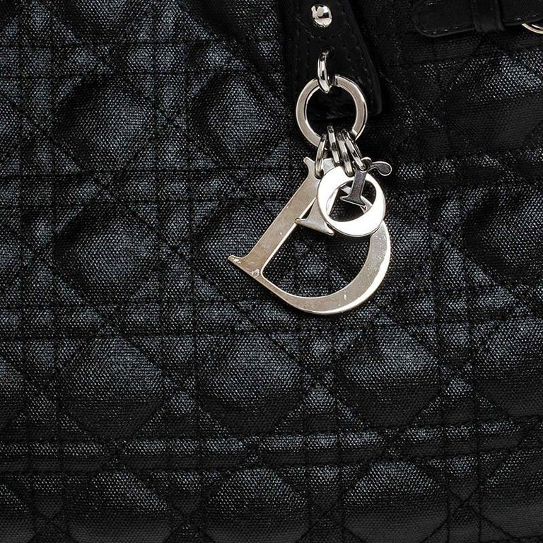 Dior Black Cannage Quilted Coated Canvas Medium Panarea Tote For Sale 3