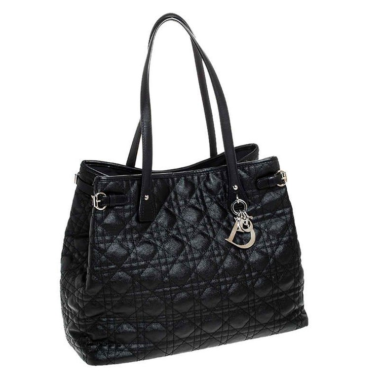 Dior Black Cannage Quilted Coated Canvas Medium Panarea Tote For Sale 4