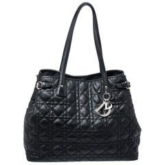 Dior Black Cannage Quilted Coated Canvas Medium Panarea Tote