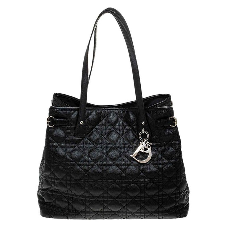 Dior Black Cannage Quilted Coated Canvas Medium Panarea Tote For Sale