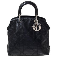 Dior Black Cannage Quilted Lambskin Leather Granville Tote Bag