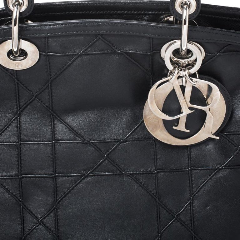 Dior Black Cannage Quilted Leather Granville Tote For Sale 7