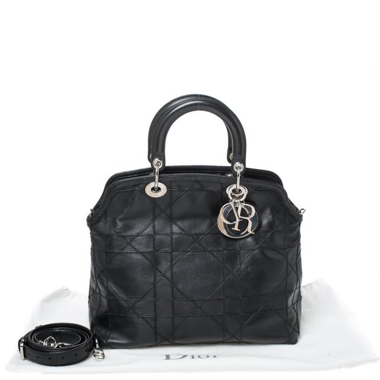Dior Black Cannage Quilted Leather Granville Tote For Sale 8