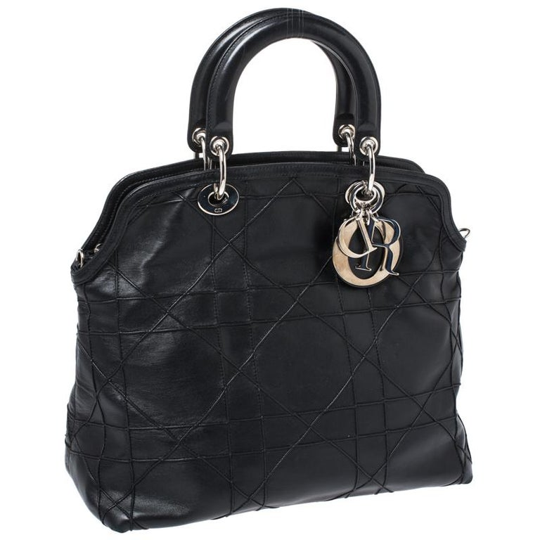 Women's Dior Black Cannage Quilted Leather Granville Tote For Sale