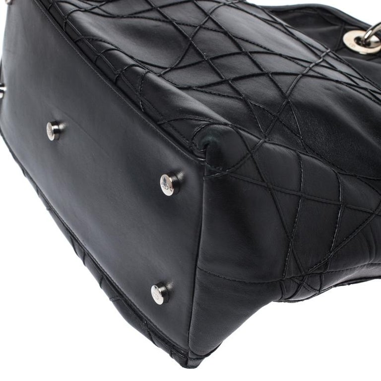 Dior Black Cannage Quilted Leather Granville Tote For Sale 2