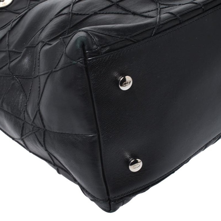 Dior Black Cannage Quilted Leather Granville Tote For Sale 3