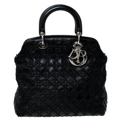 Dior Black Cannage Quilted Leather Granville Tote