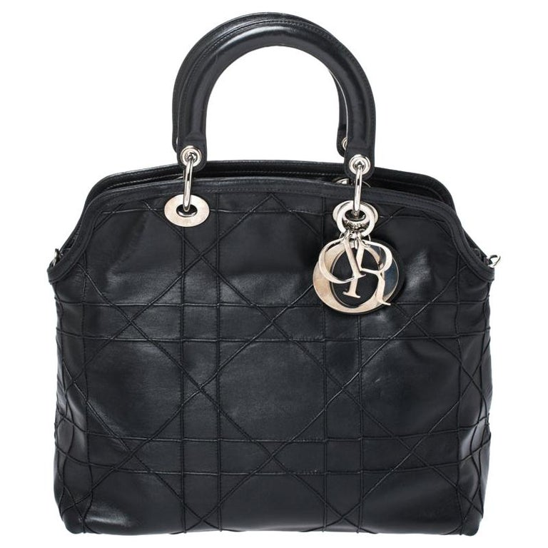 Dior Black Cannage Quilted Leather Granville Tote For Sale