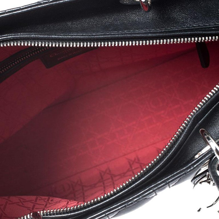 Dior Black Cannage Quilted Leather Large Lady Dior Tote For Sale 6