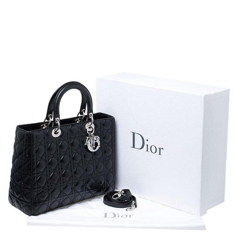 Dior Black Cannage Quilted Leather Large Lady Dior Tote For Sale 8