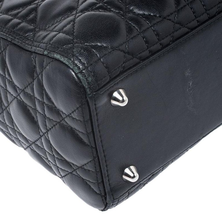 Dior Black Cannage Quilted Leather Large Lady Dior Tote For Sale 2