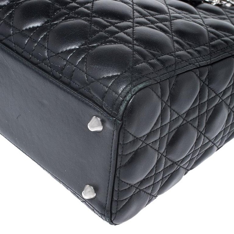 Dior Black Cannage Quilted Leather Large Lady Dior Tote For Sale 3