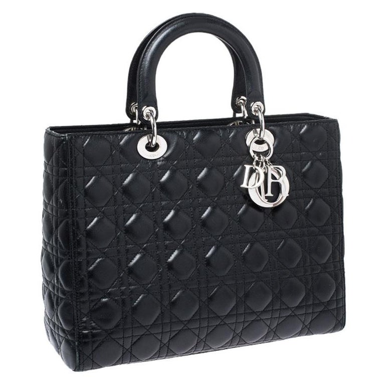 Dior Black Cannage Quilted Leather Large Lady Dior Tote For Sale 4