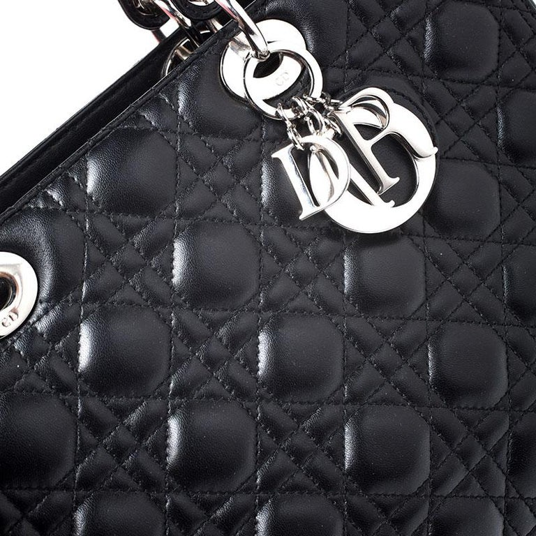Dior Black Cannage Quilted Leather Large Lady Dior Tote For Sale 5