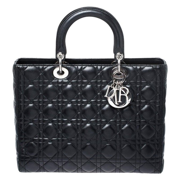 Dior Black Cannage Quilted Leather Large Lady Dior Tote For Sale