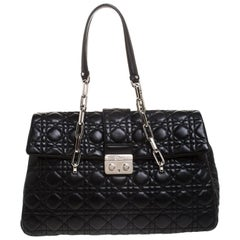 Dior Black Cannage Quilted Leather Large New Lock Satchel