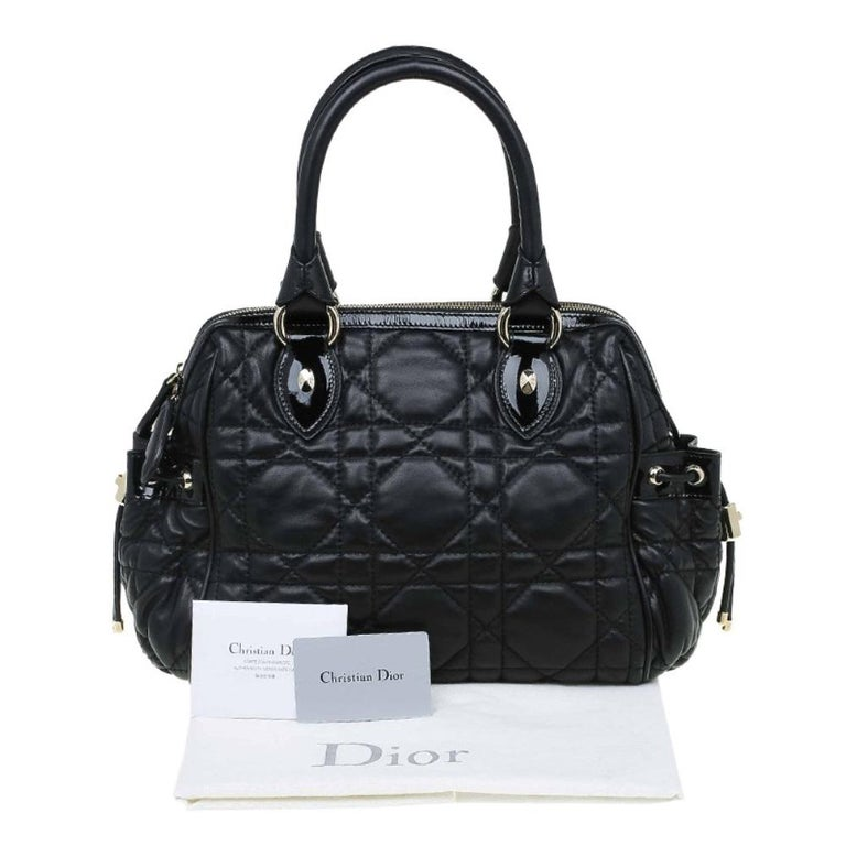 Dior Black Cannage Quilted Leather Satchel For Sale 6