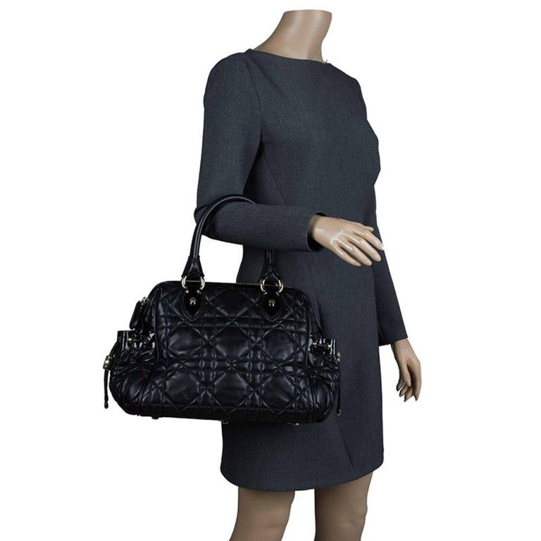 Dior Black Cannage Quilted Leather Satchel In Excellent Condition For Sale In Dubai, Al Qouz 2