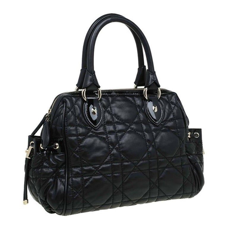Women's Dior Black Cannage Quilted Leather Satchel For Sale