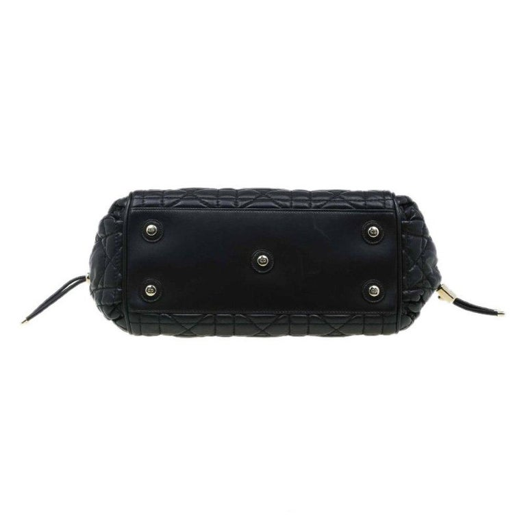 Dior Black Cannage Quilted Leather Satchel For Sale 1