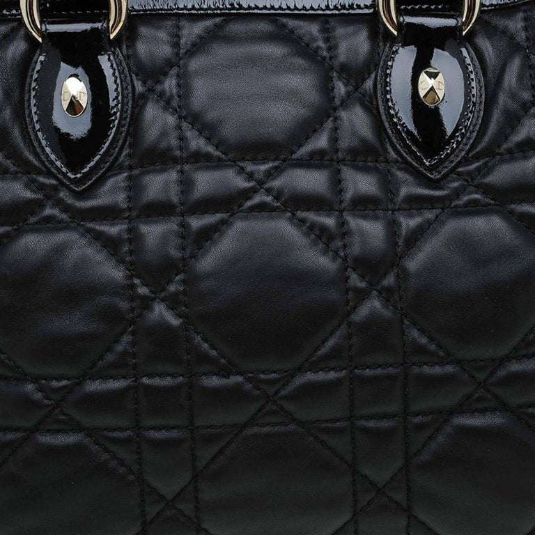 Dior Black Cannage Quilted Leather Satchel For Sale 2