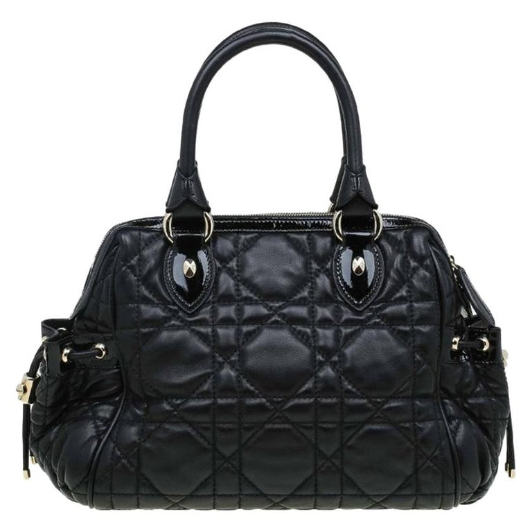 Dior Black Cannage Quilted Leather Satchel For Sale