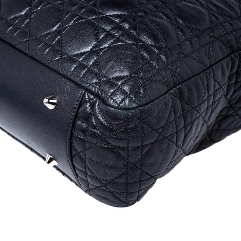 Dior Black Cannage Quilted Leather Soft Shopper Tote For Sale 7