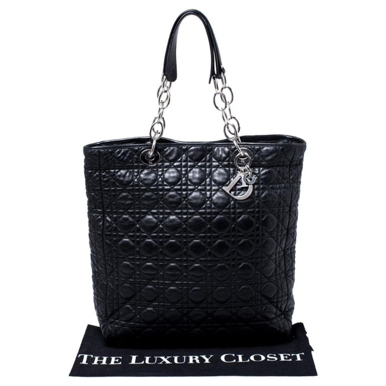 Dior Black Cannage Quilted Leather Soft Shopper Tote For Sale 8