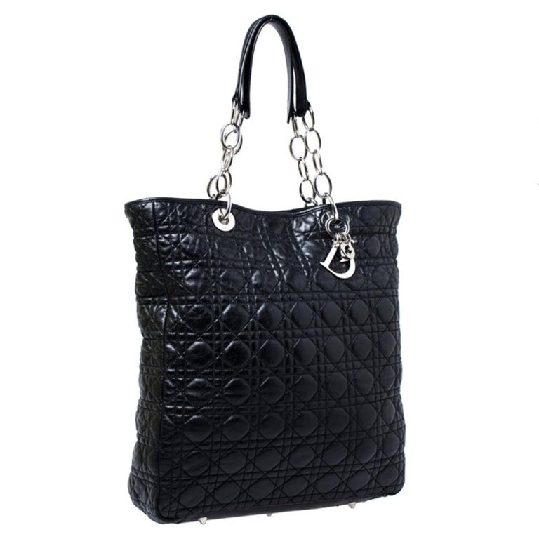 Women's Dior Black Cannage Quilted Leather Soft Shopper Tote For Sale