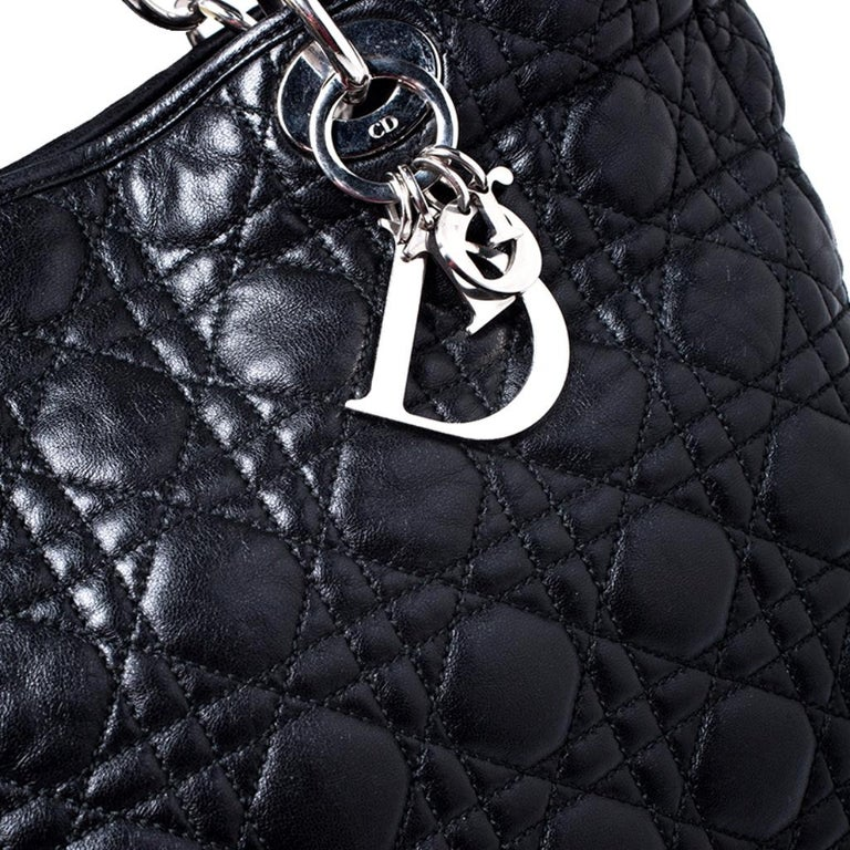 Dior Black Cannage Quilted Leather Soft Shopper Tote For Sale 4