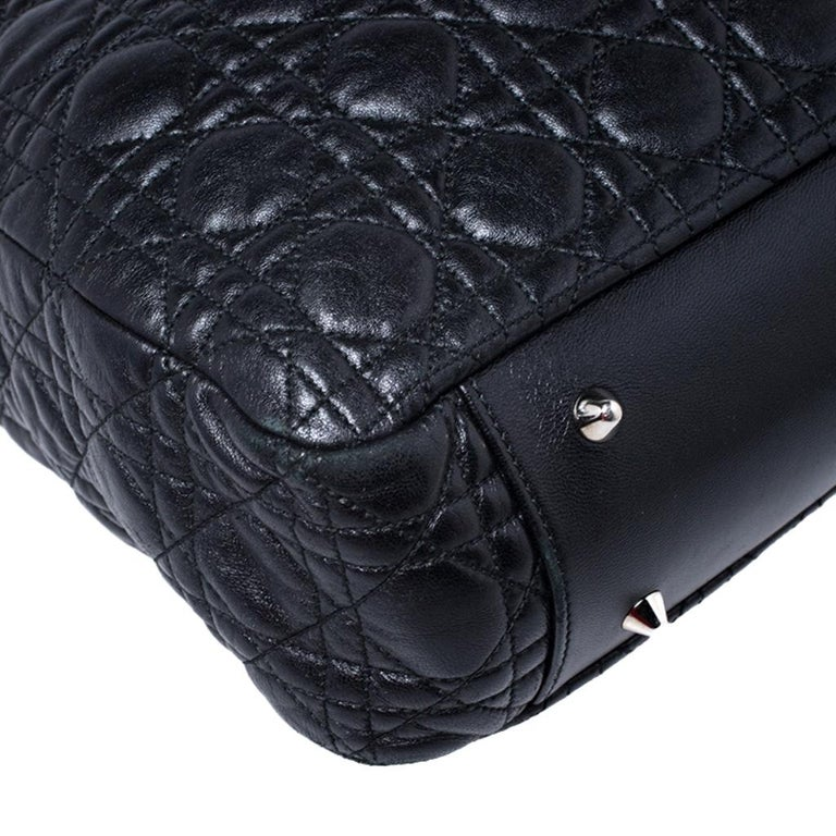 Dior Black Cannage Quilted Leather Soft Shopper Tote For Sale 5