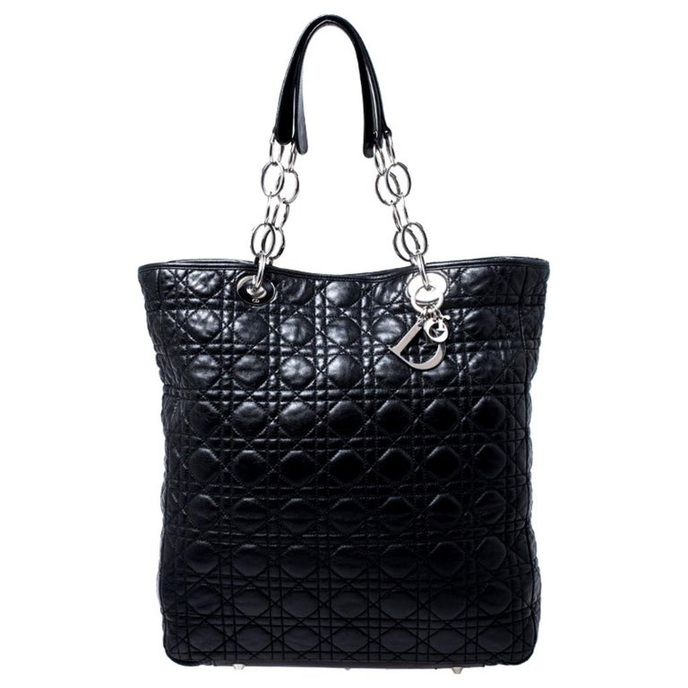 Dior Black Cannage Quilted Leather Soft Shopper Tote For Sale