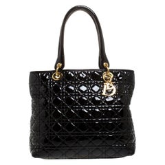 Dior Black Cannage Quilted Patent Leather Medium Soft Lady Dior Tote