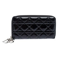 Dior Black Cannage Quilted Patent Leather Zip Around Lady Dior Wallet