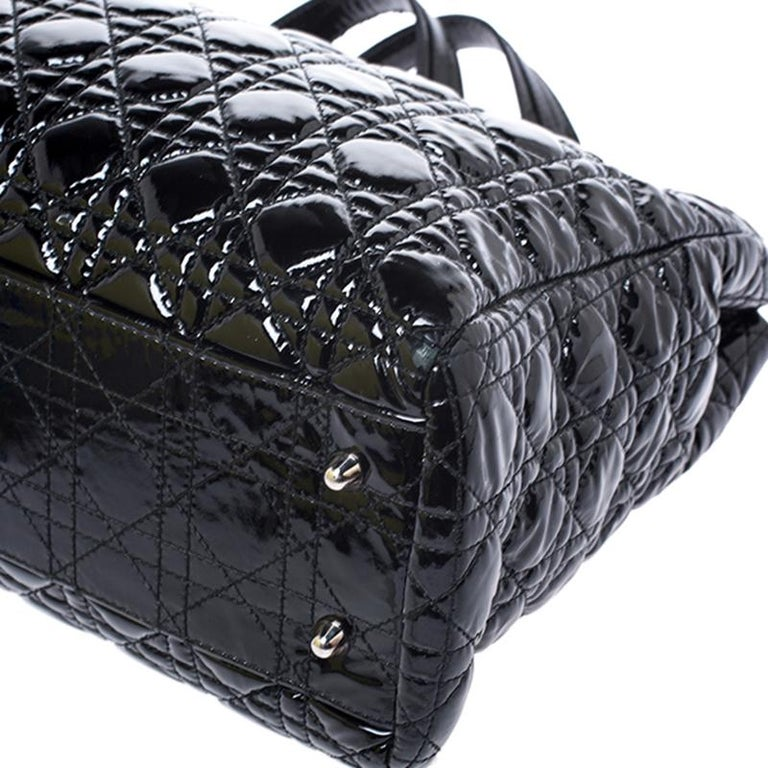 Dior Black Cannage Quilted Soft Patent Leather Large Shopper Tote For Sale 6