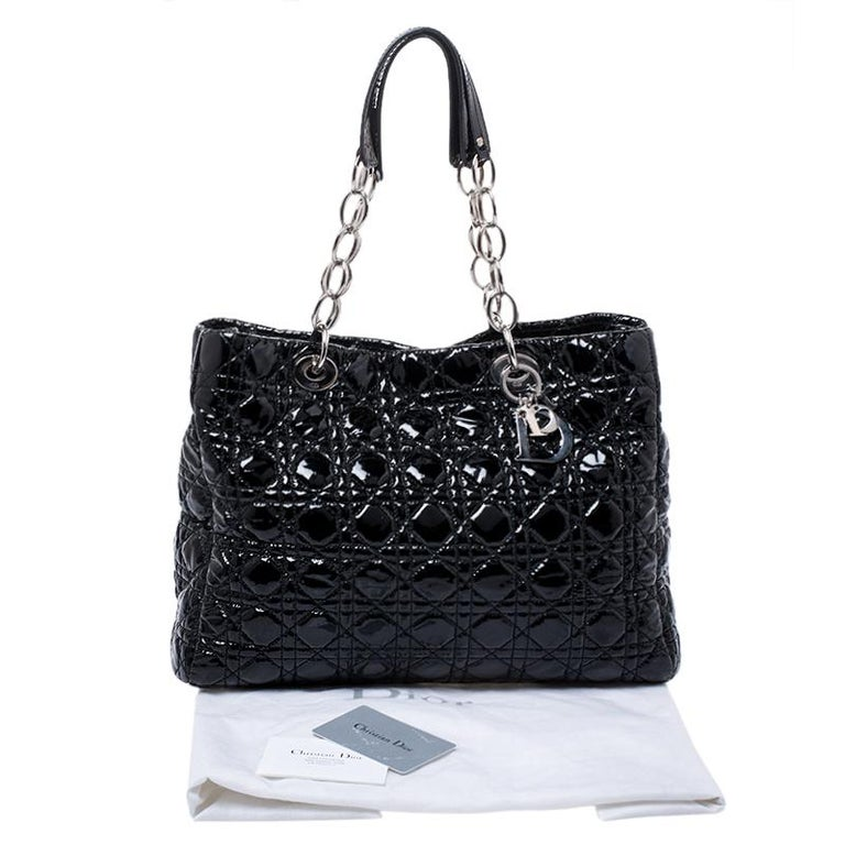 Dior Black Cannage Quilted Soft Patent Leather Large Shopper Tote For Sale 7