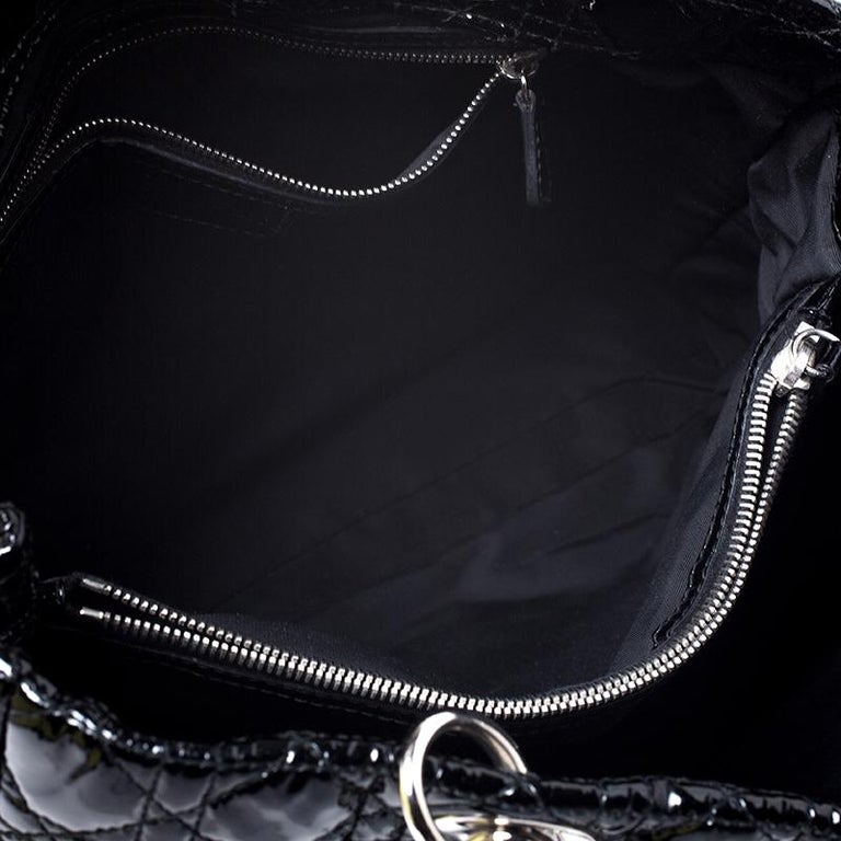 Dior Black Cannage Quilted Soft Patent Leather Large Shopper Tote For Sale 2