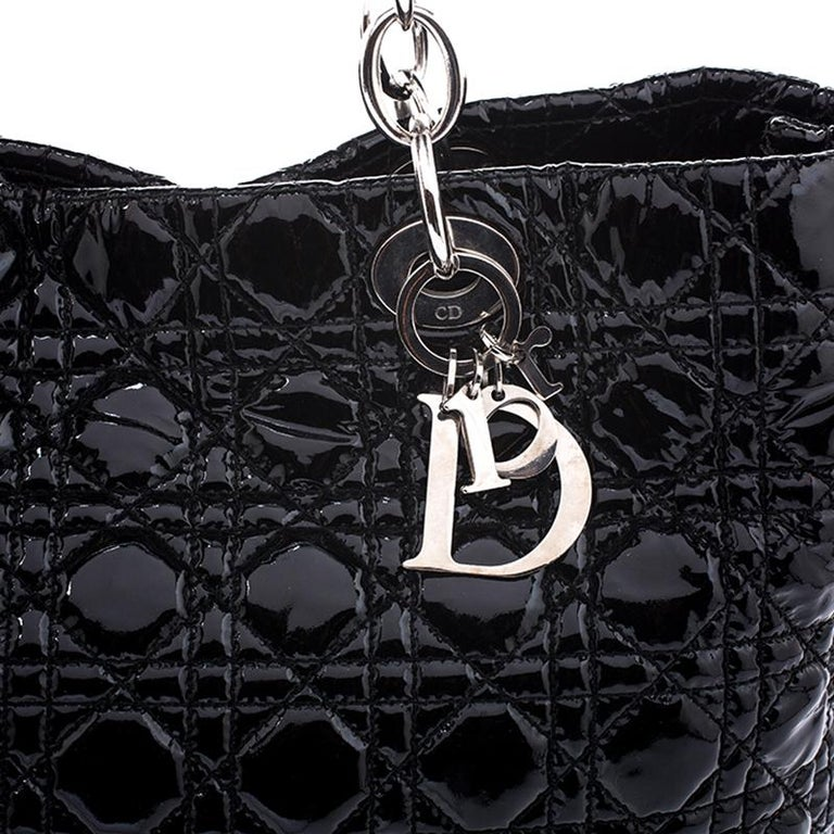 Dior Black Cannage Quilted Soft Patent Leather Large Shopper Tote For Sale 3