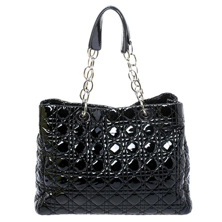 Dior Black Cannage Quilted Soft Patent Leather Large Shopper Tote For Sale 4