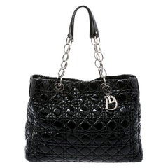 Dior Black Cannage Quilted Soft Patent Leather Large Shopper Tote